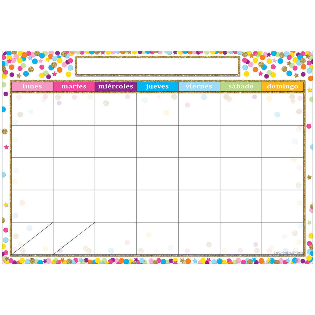 Smart Poly Chart Spanish Calendar Dry-erase Surface