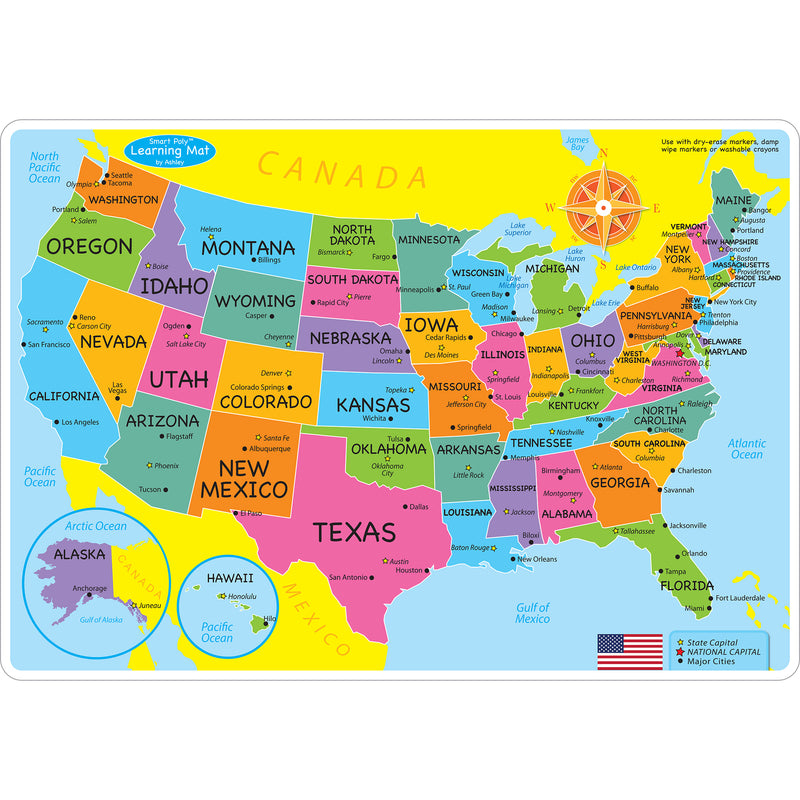 Us Map Learning Mat Double Sided Write On Wipe Off