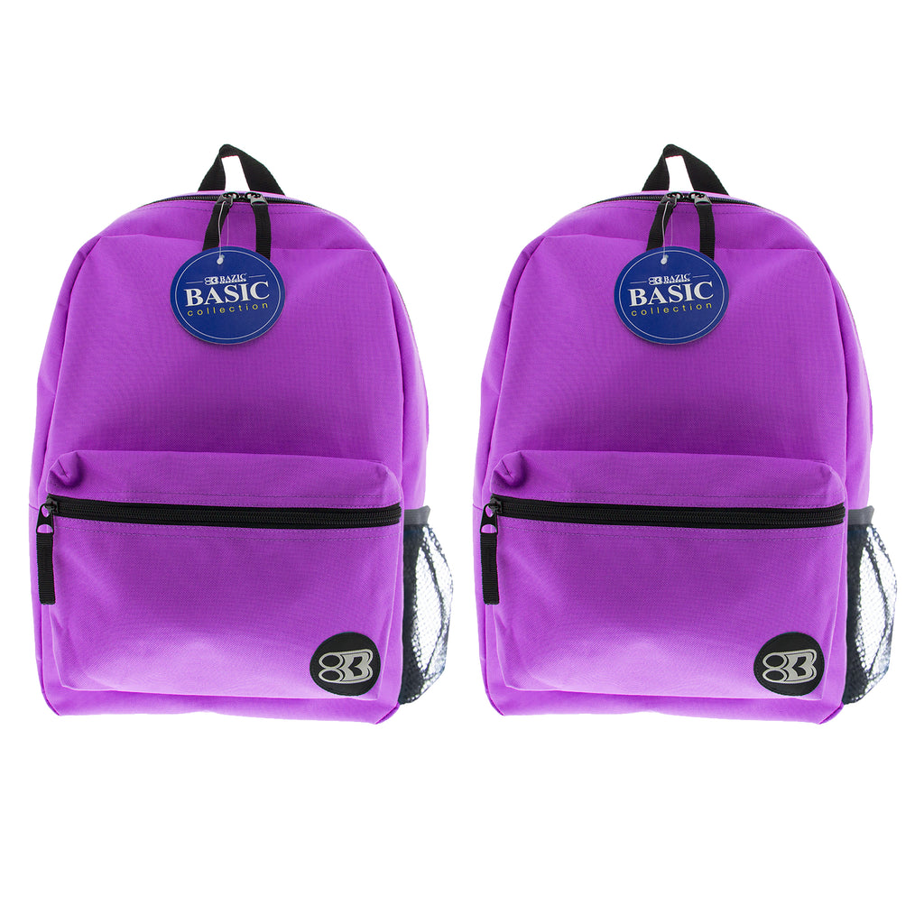 (2 Ea) 16in Purple Basic Backpack