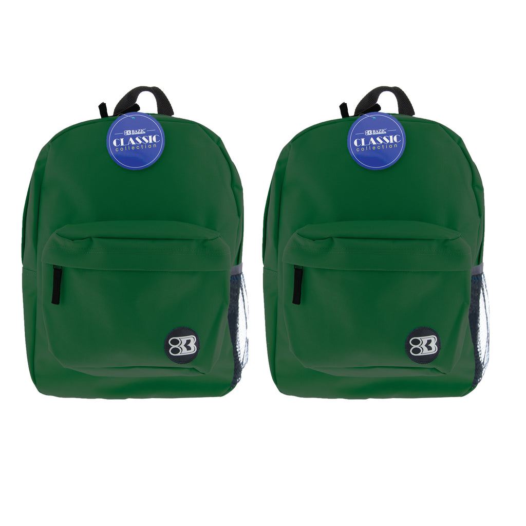 (2 Ea) 17in Green Classic Backpack