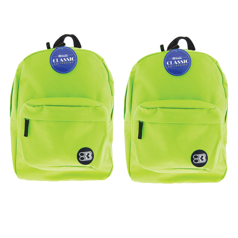(2 Ea) 17in Lime Green Classic Backpack