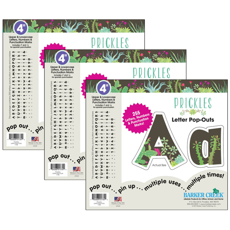 (3 Pk) 4in Letter Popouts Prickles