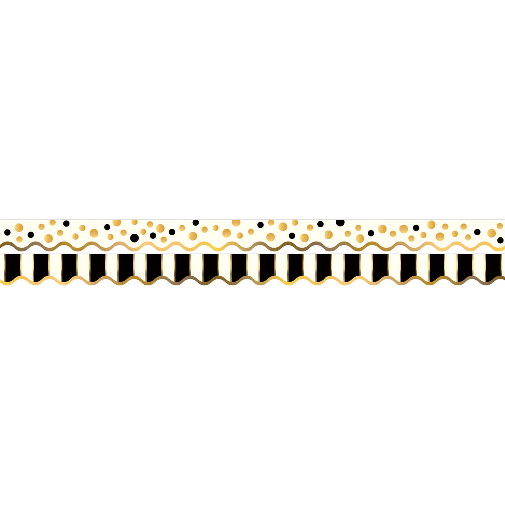(6 Pk) Gold Bars Border Double Sided Scalloped Edge