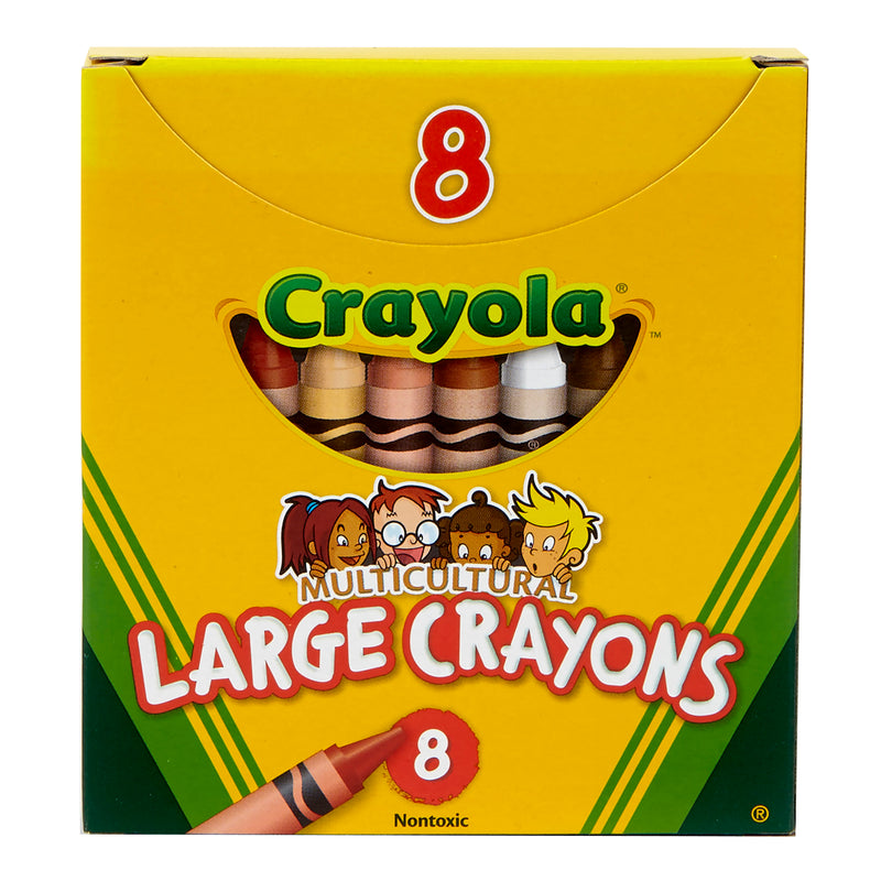 (12 Bx) Multicultural Crayons Large 8 Per Pk