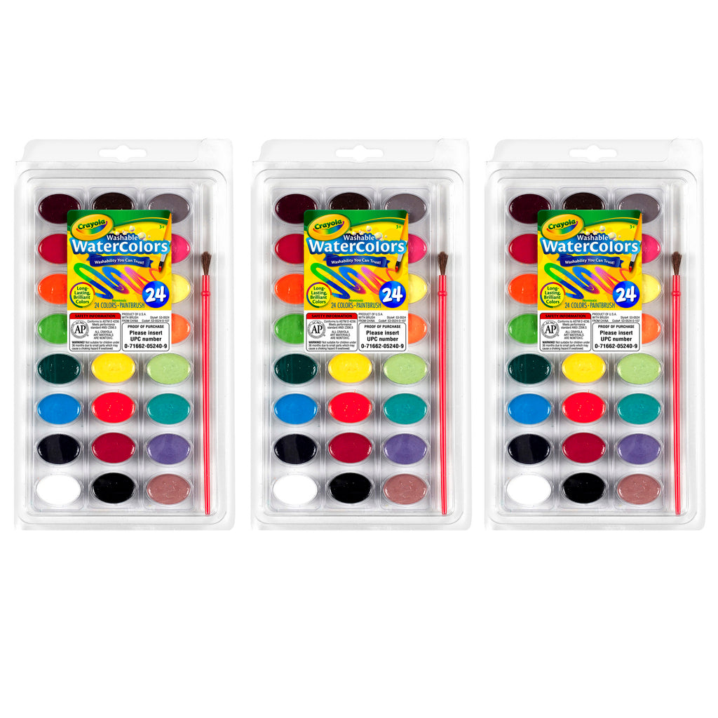 (3 Pk) 24ct Washable Watercolor Pans With Plastic Handled Brush