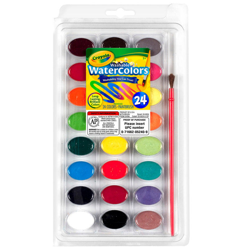 24ct Washable Watercolor Pans With Plastic Handled Brush