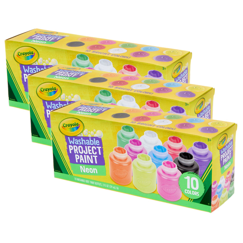 (3 St) 10 Ct  2oz Neon Paint Set