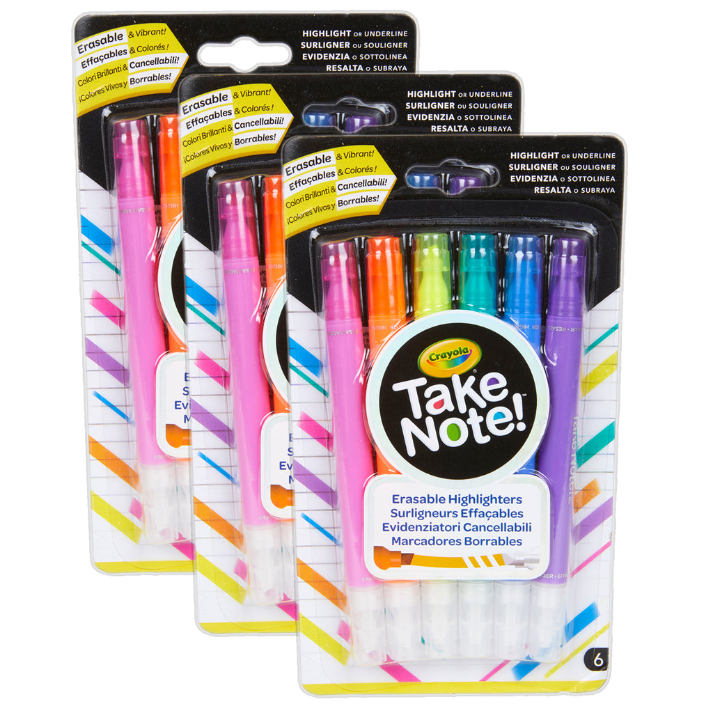 (3 Pk) 6ct Take Note Erasable Highlighters