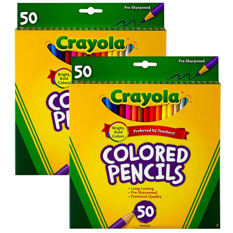(2 Bx) Crayola Colored Pencils 50ct Per Bx Full Len Asst Clrs Peggable