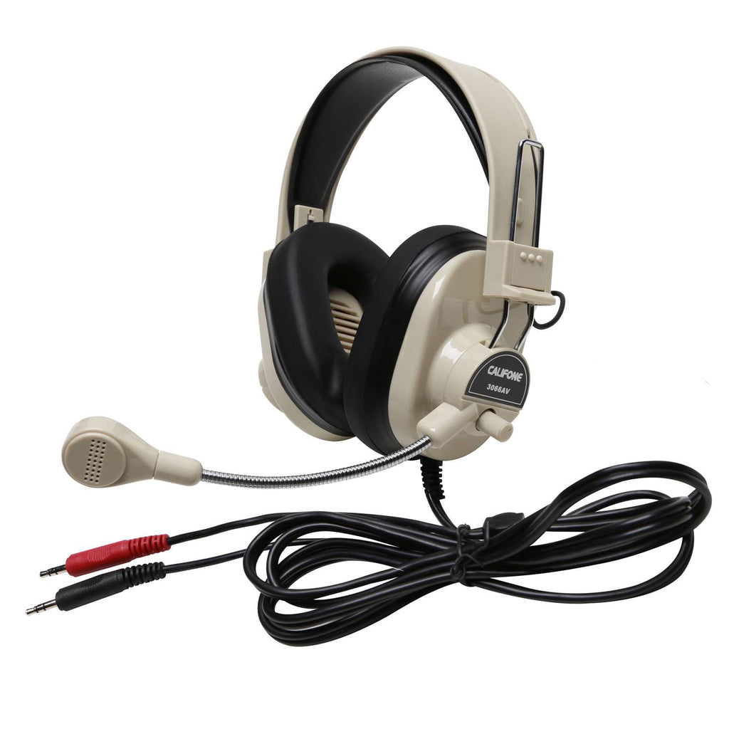 Deluxe Multimedia Stereo Headset W- Boom Microphone W- Dual 3.5mm Plug