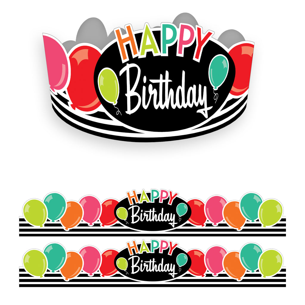 (2 Pk) Brights Birthday Crowns Black White & Stylish