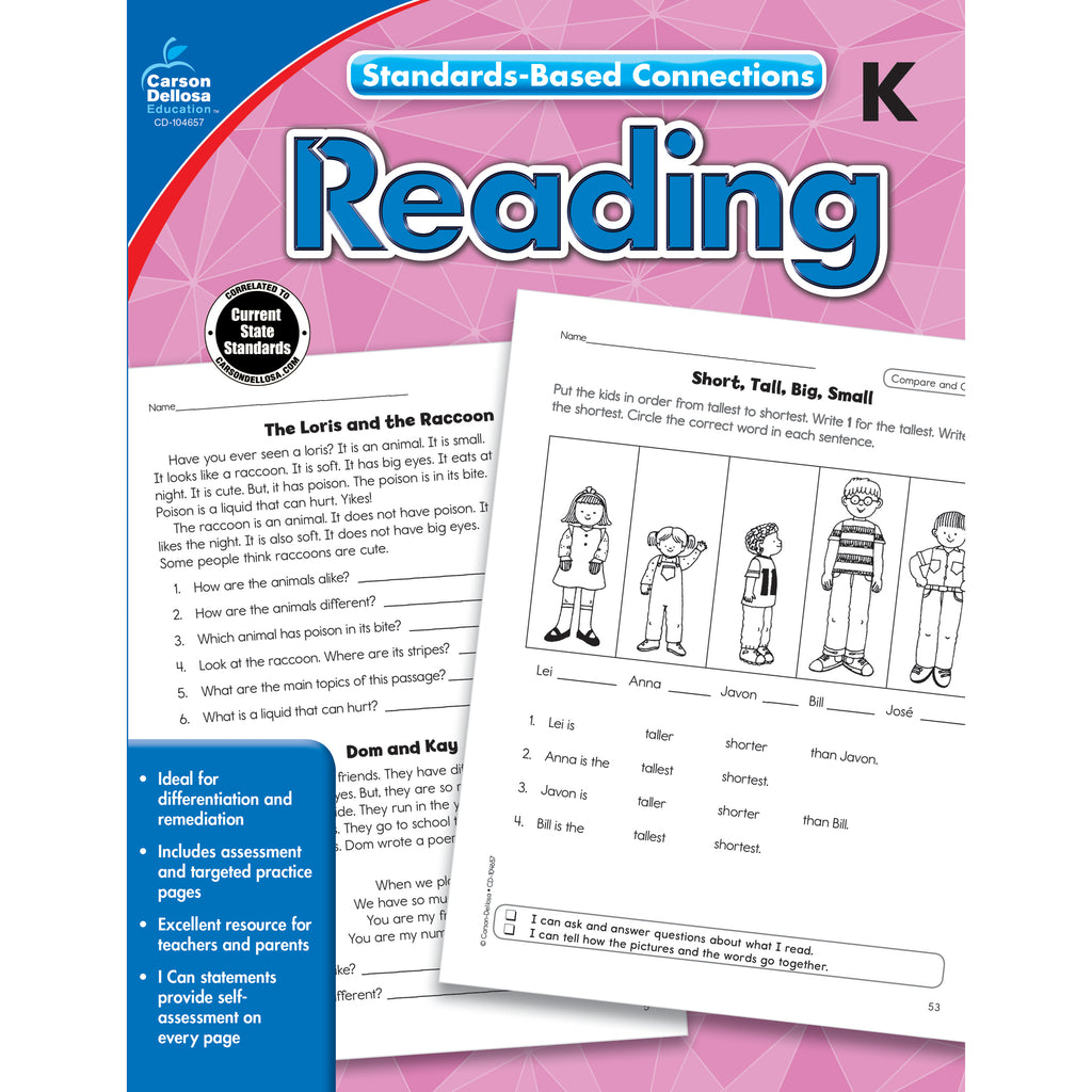 Standards-based Connections Reading Grade K Workbook