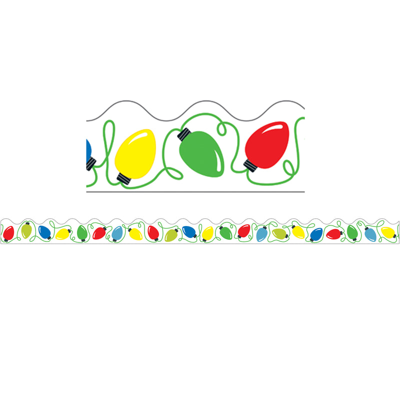 (6 Pk) Holiday Lights Scalloped Border