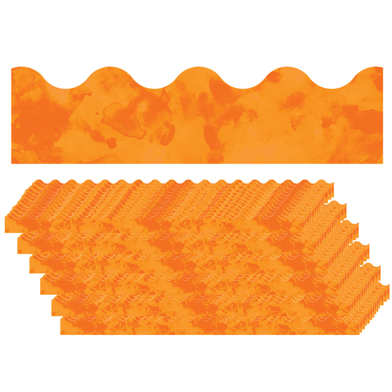 (6 Pk) Watercolor Orange Scalloped Borders Celebrate Learning
