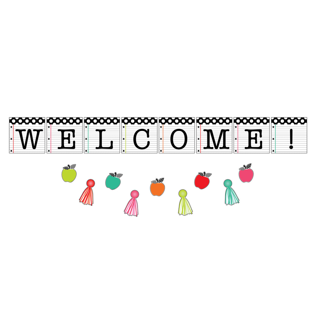 Brights Welcome Bulletin Board Set Black White & Stylish