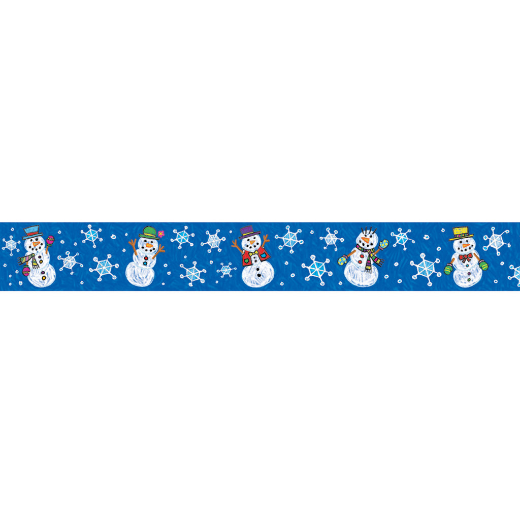 (6 Pk) Border Snowmen Kid-drawn Straight