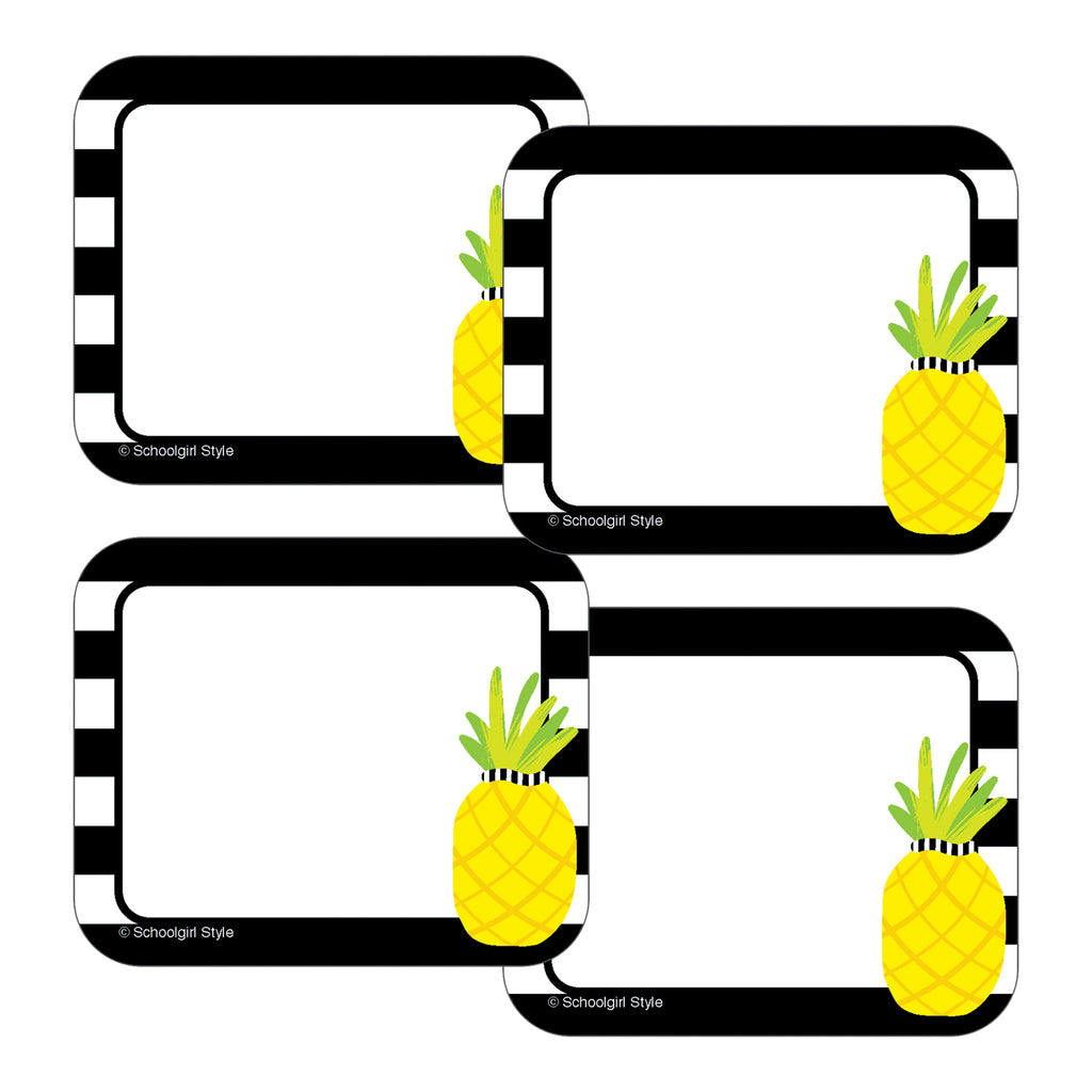 (6 Pk) Tropical Pineapple Stripe Name Tags Simply Stylish