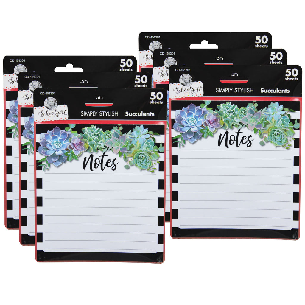 (6 Ea) Succulents Notepad