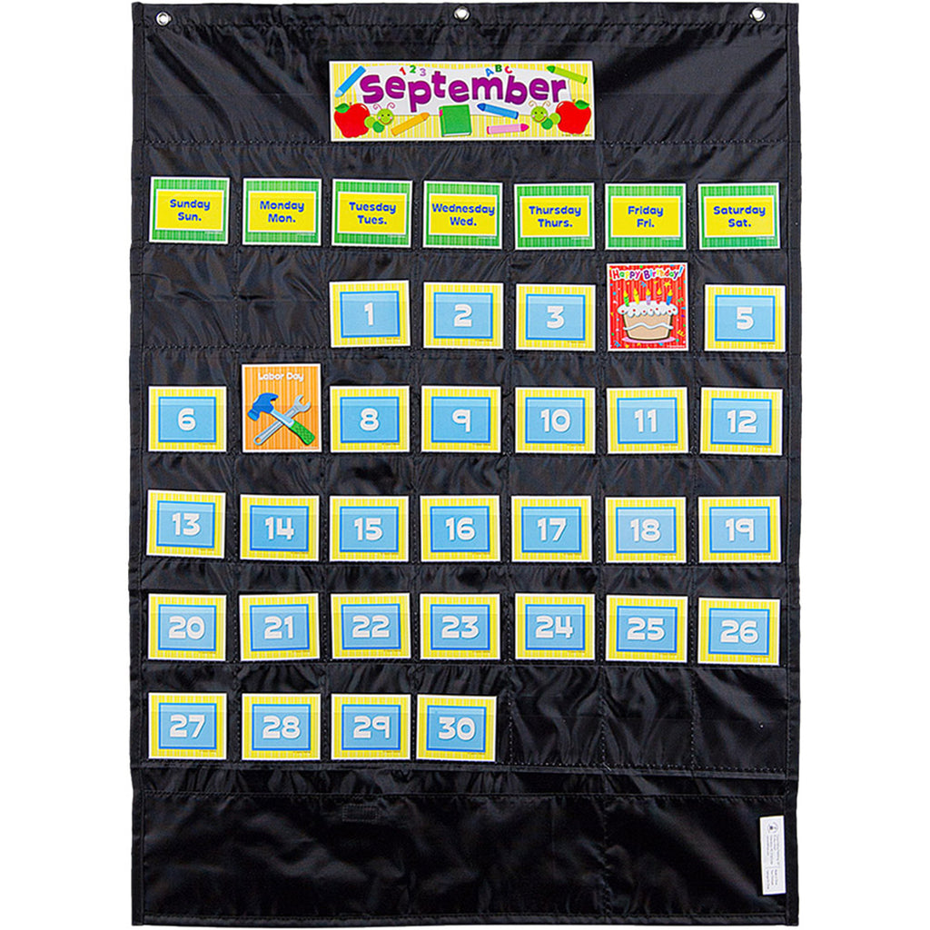 Deluxe Calendar Pocket Chart Black