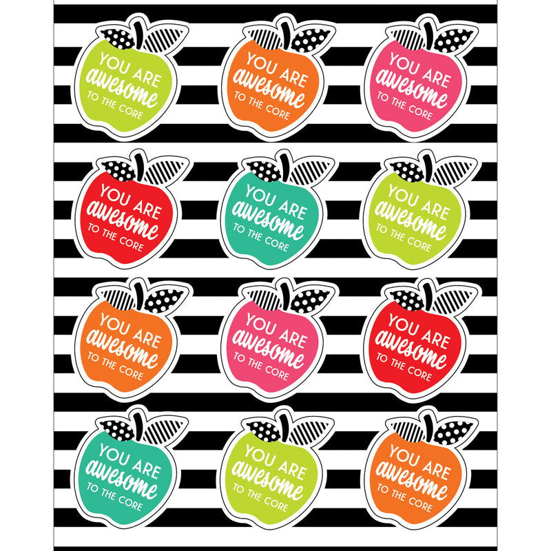 Brights Motivational Apples Stickrs Black White & Stylish