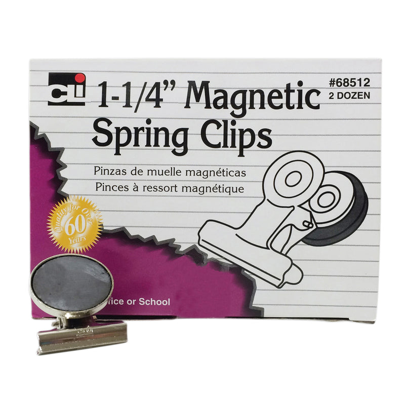 Magnetic Spring Clips 1 1-4in 24bx