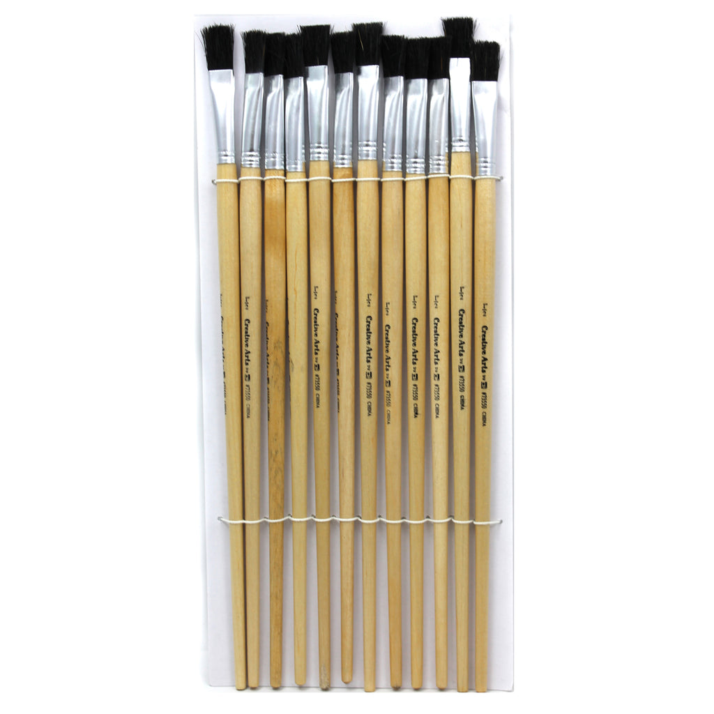 (3 St) Brushes Easel Flat 1-2in Bristle 12 Per Set