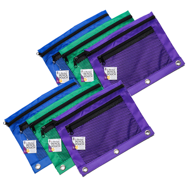 Pencil Pouch 3 Assrtd Colors 6pk 2 Pocket Mesh Front