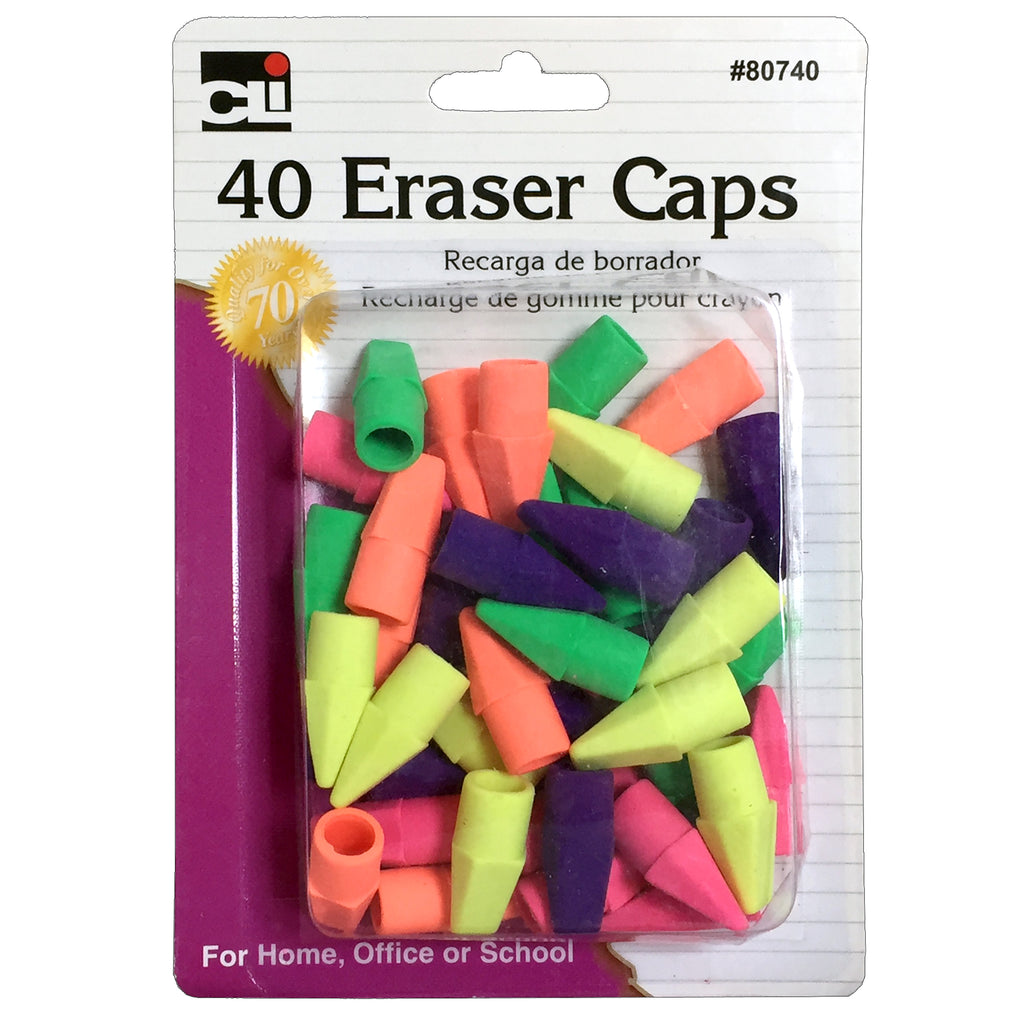 (24 Pk) Pencil Eraser Caps Assorted Colors