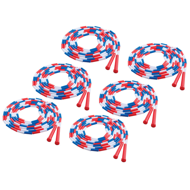 (6 Ea) Plastic Segmented Ropes 16ft Red White & Blue
