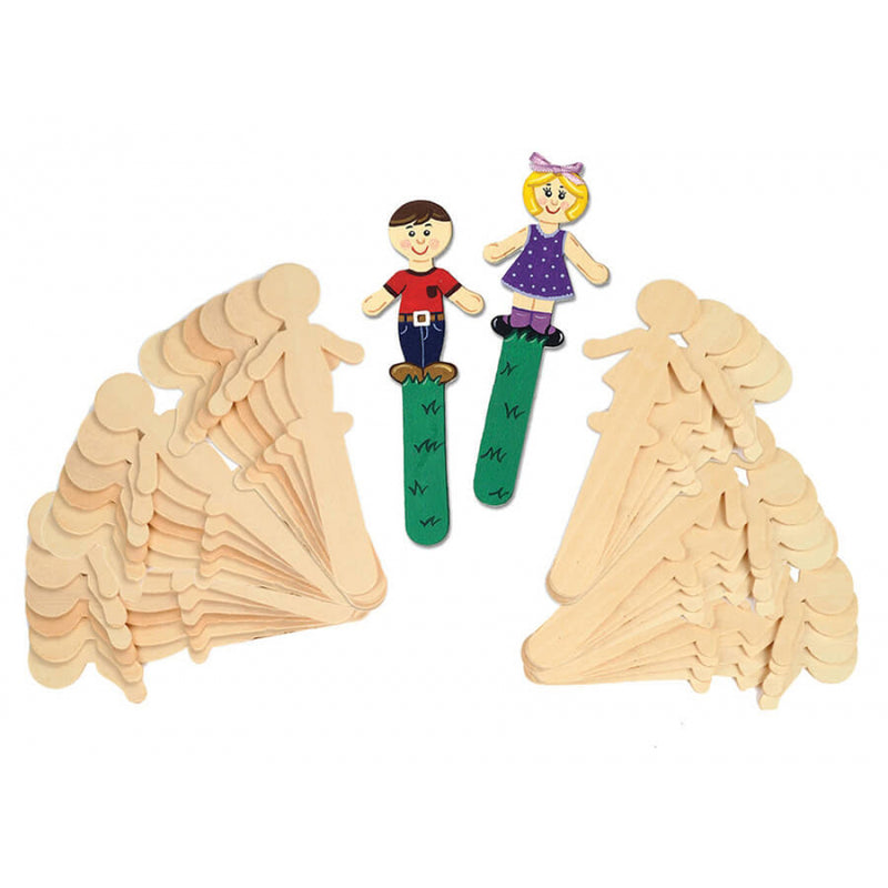 (6 Pk) People Shaped Wood Craft 16 Per Pk Sticks 8 Each Design