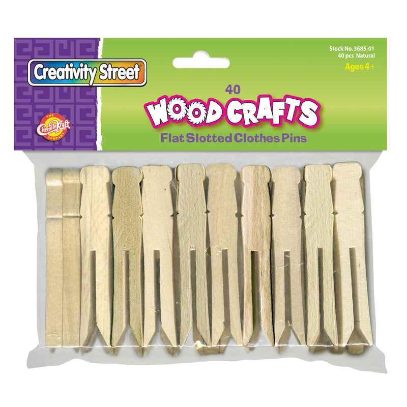 Wooden Flat Slotted Clothespin 40pk Natural