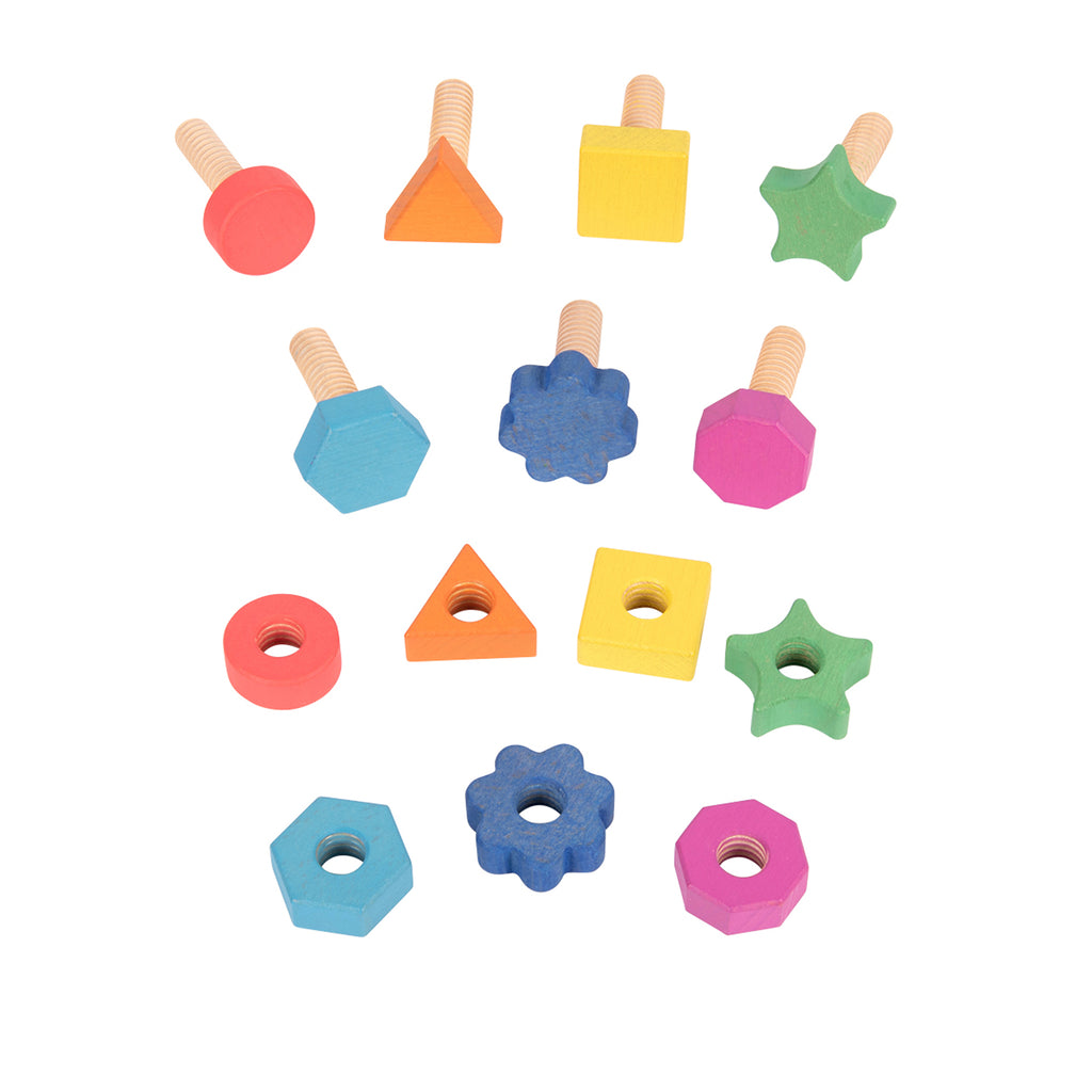Rainbow Wood Nuts Bolts 7 Pairs 7 Shapes And Colors