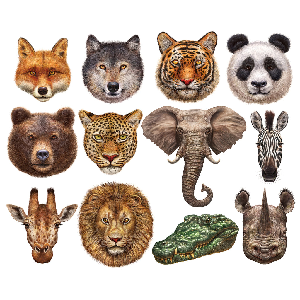 Wild Animals Mini Shaped Puzzle Set 12 Puzzles