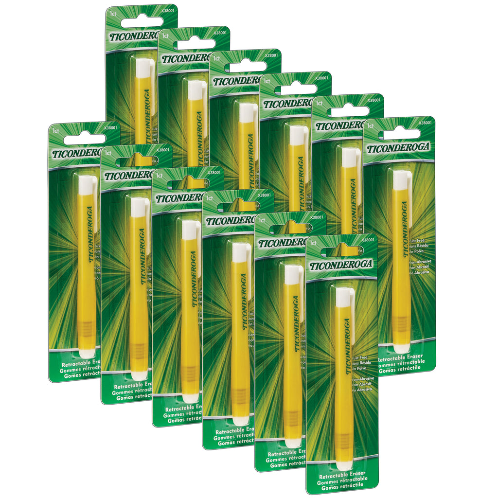 (12 Ea) Ticonderoga Retractable Eraser