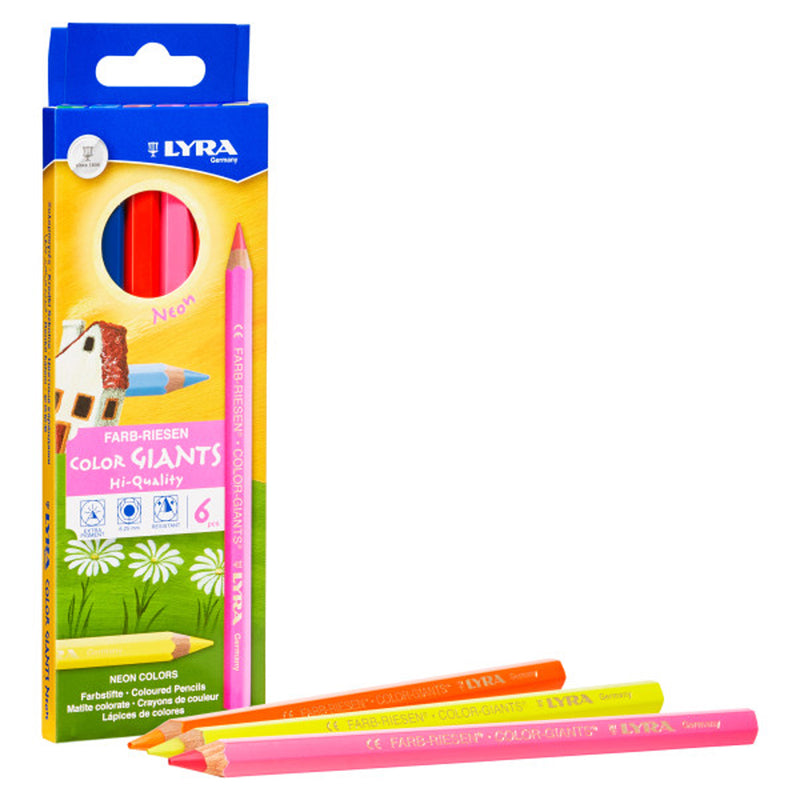 Giant Colored Pencils Neon 6pk Lyra Color