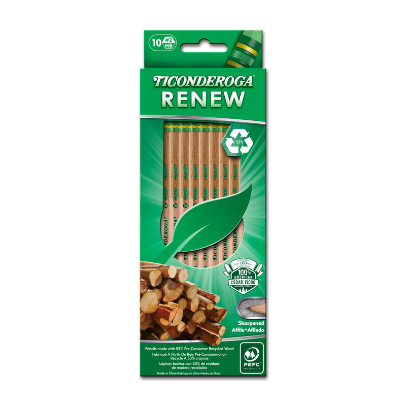 Ticonderoga Renew Recycled Wood Pencils 10pk