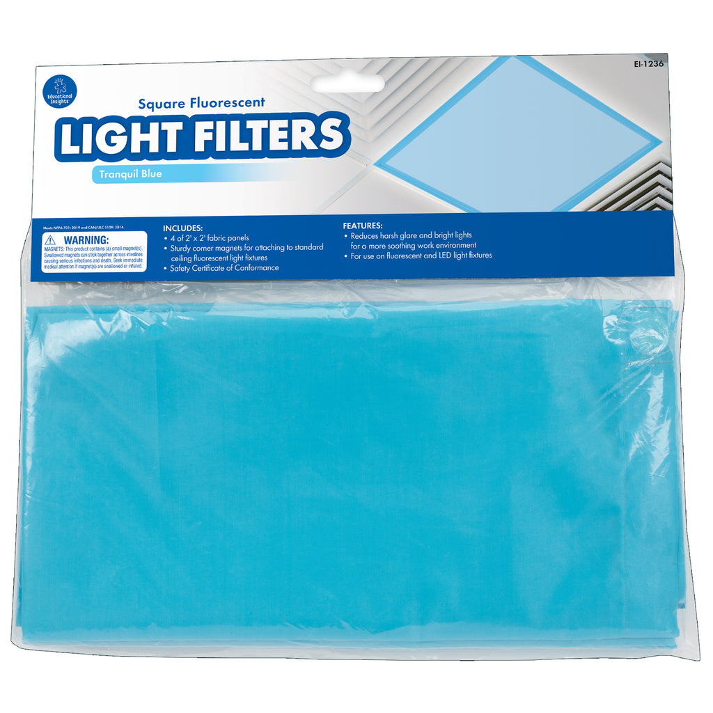 Classroom Light Filters 2x2 Blue Set Of 4