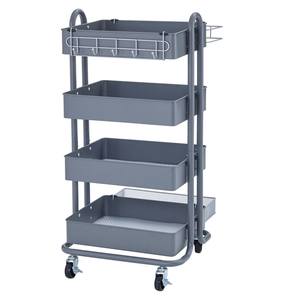 4-tier Utility Rolling Cart Gray
