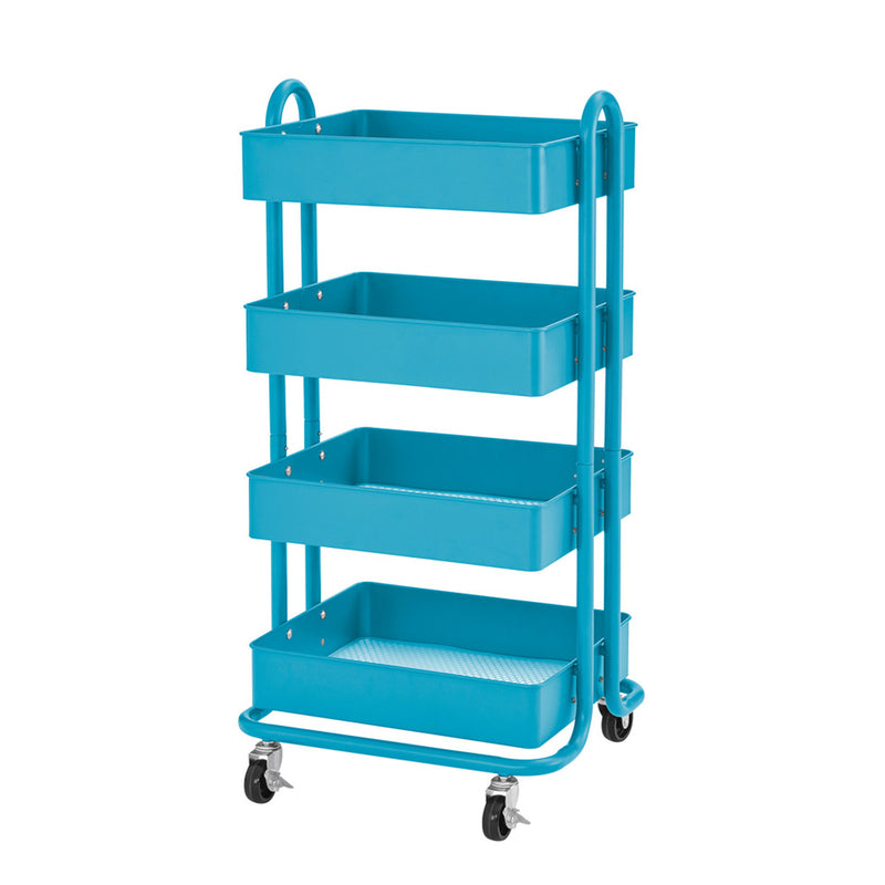 4-tier Util Rolling Cart Turquoise