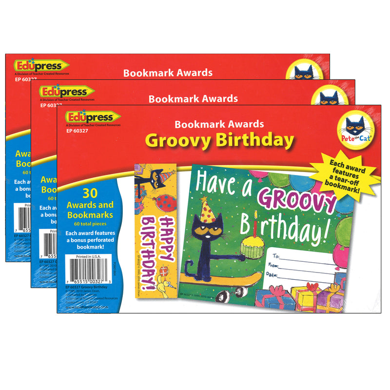 (3 Pk) Pete The Cat Happy Birthday Bookmark Awards