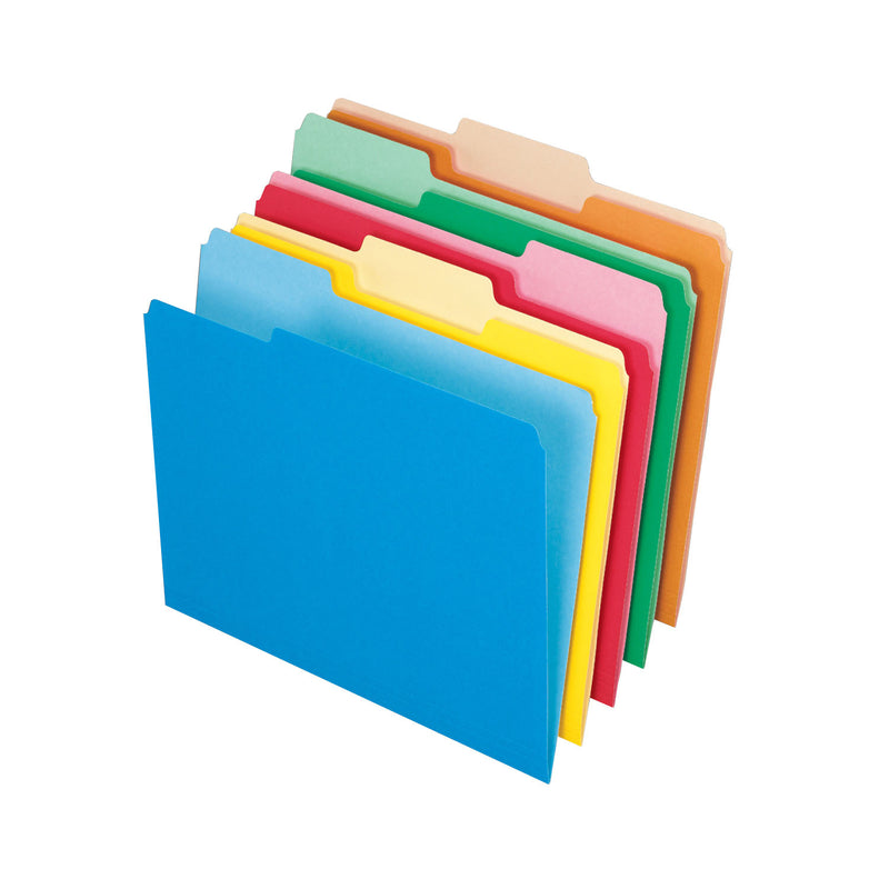 100ct Assort Color Top File Folders Letter Size