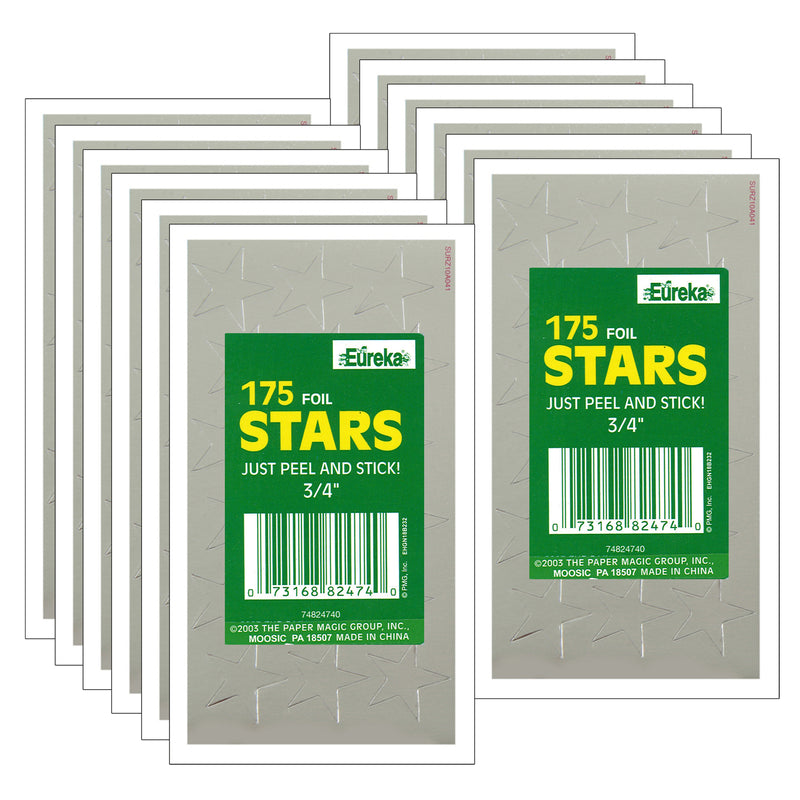 (12 Pk) Stickers Foil Stars .75in Silver