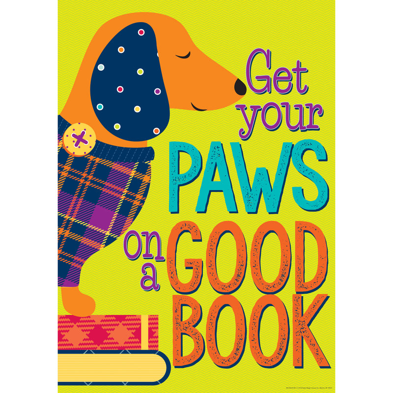 Get Your Paws On A Good Book Poster Plaid Attitude
