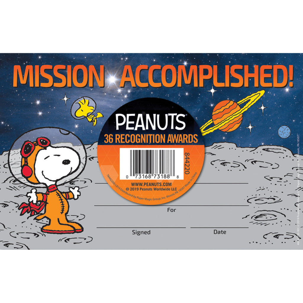 (6 Pk) Peanuts Nasa Recognition Award