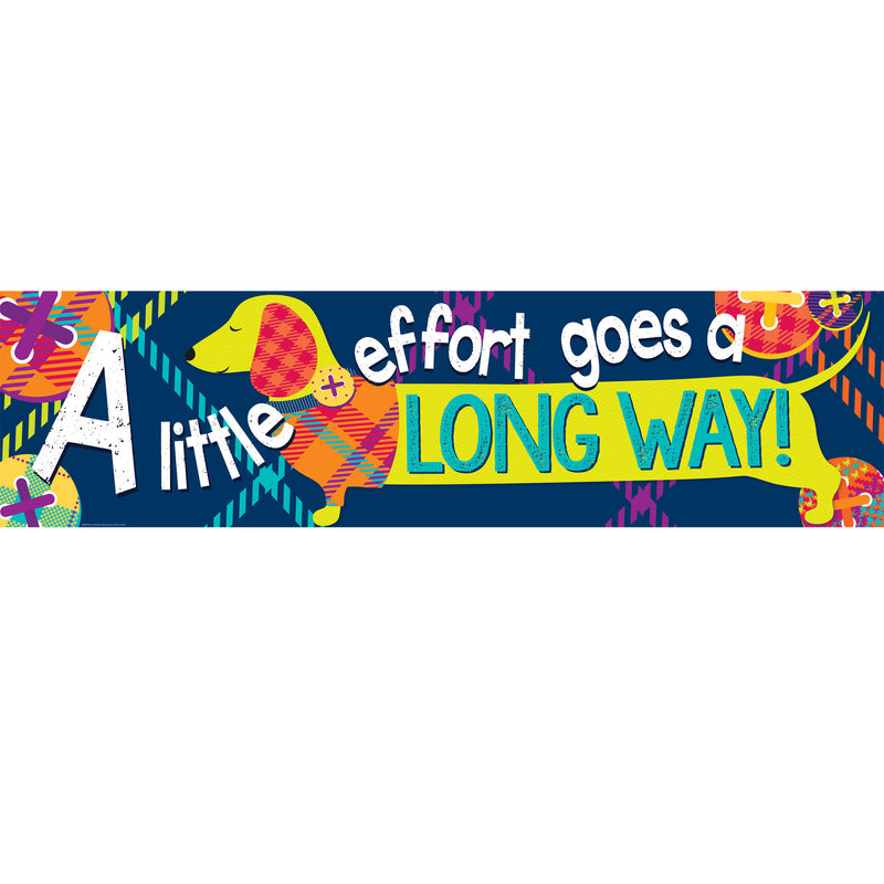 Little Effort Goes Long Way Banner Plaid Attitude Horizontal