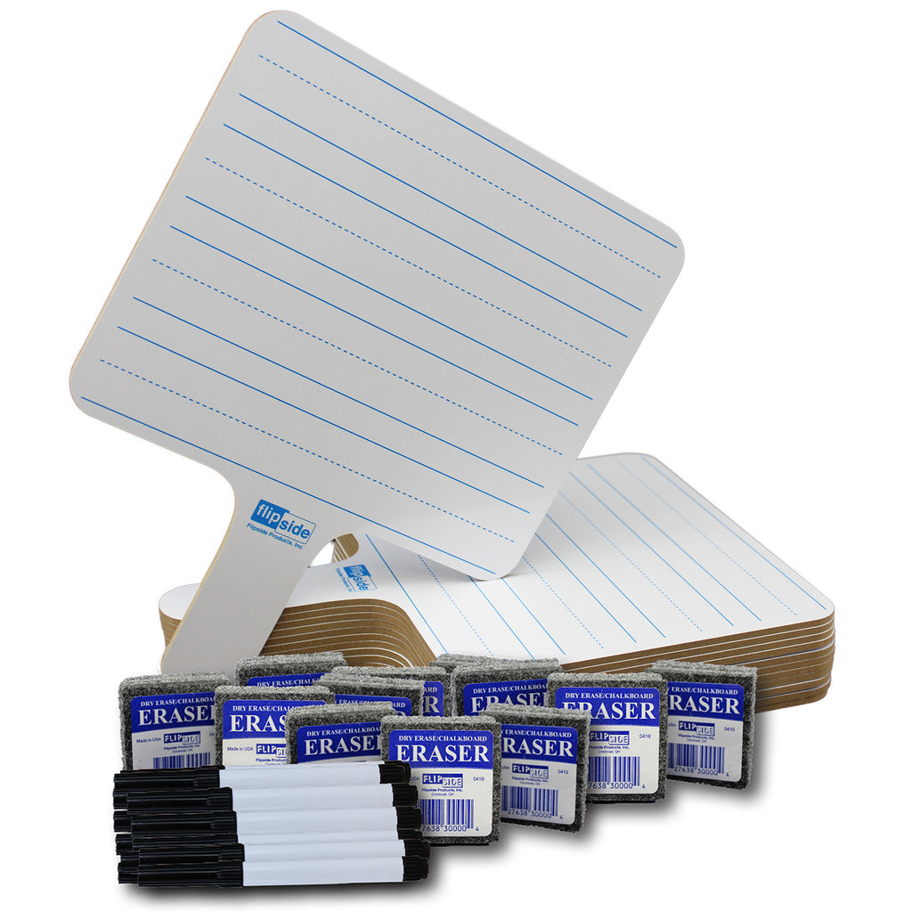 Rectangle Lined 2 Side Paddle 12-pk Dry Erase W- Pens Erasers