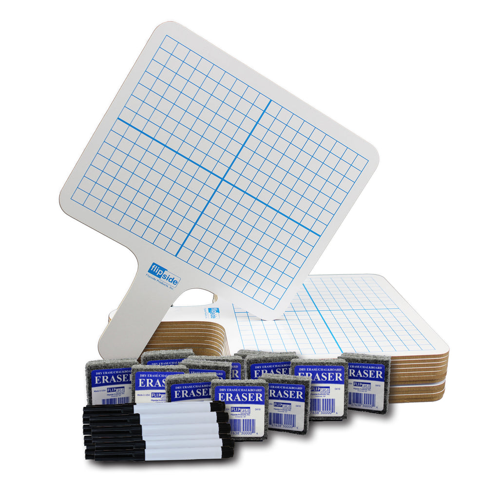 Rectangle Graph 2 Side Paddle 12-pk Dry Erase W- Pens Erasers