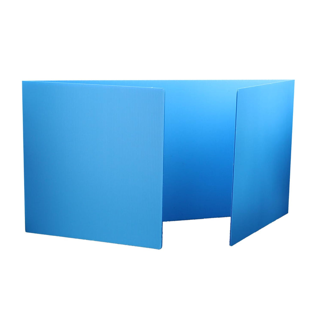 Blue Corrugated Study Carrel 24pk Plastic