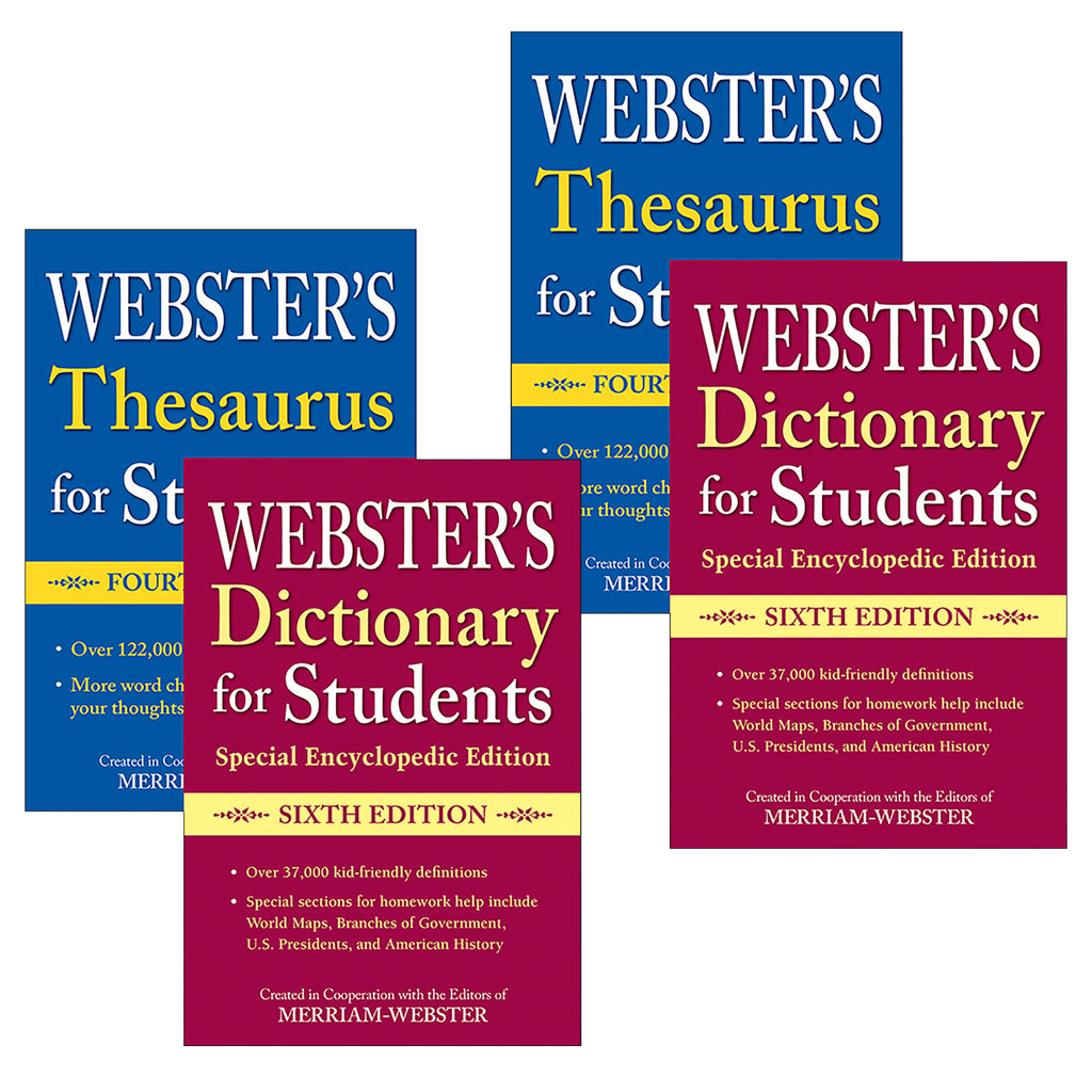 (2 St) Websters Dictionary Thesaurus Set For Students