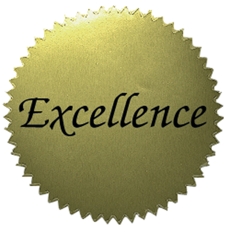 (6 Pk) Stickers Gold Excellence 2in Diameter 50 Per Pk